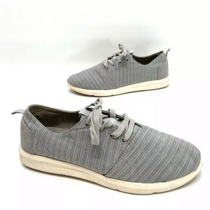 Toms Mens Gray Canvas Lace Up Sneakers Size 10.5